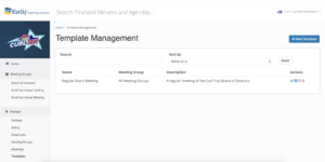 BlueSky's Meeting Template Management Page