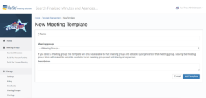 BlueSky's Meeting Template Creation Page
