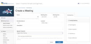 BlueSky's Meeting Creation Page with Template Selected