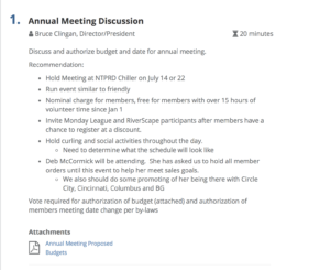 example meeting agenda item